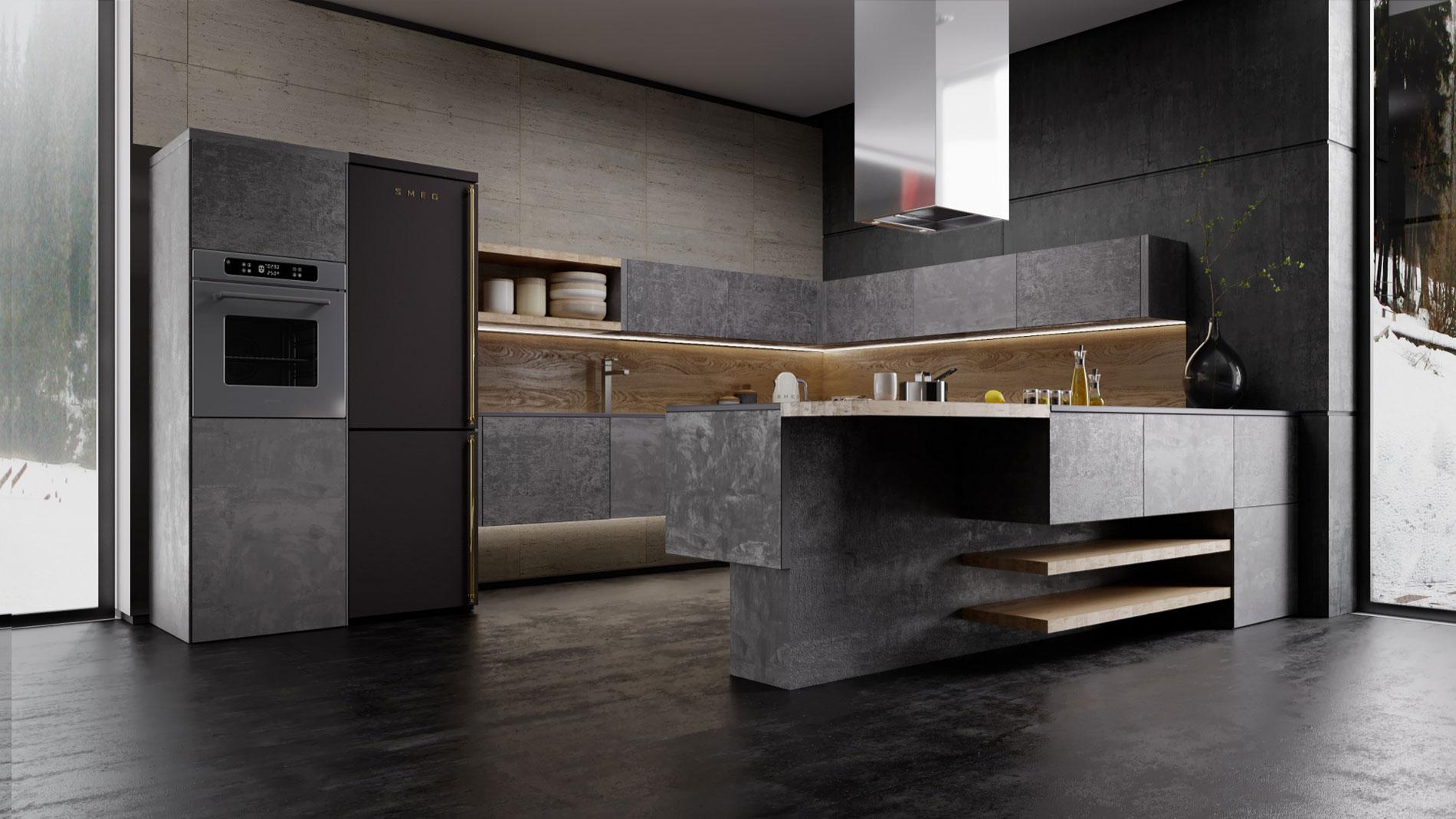 Совместная отделка мебели и стен каменным шпоном
