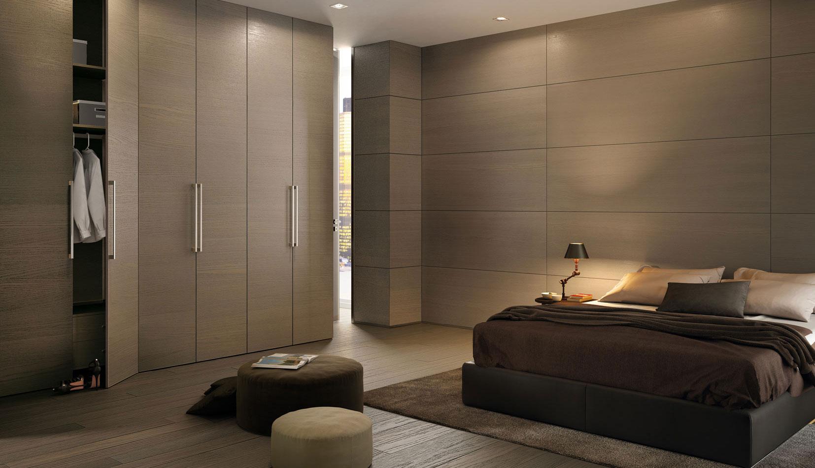 Панель из дерева в спальной комнате