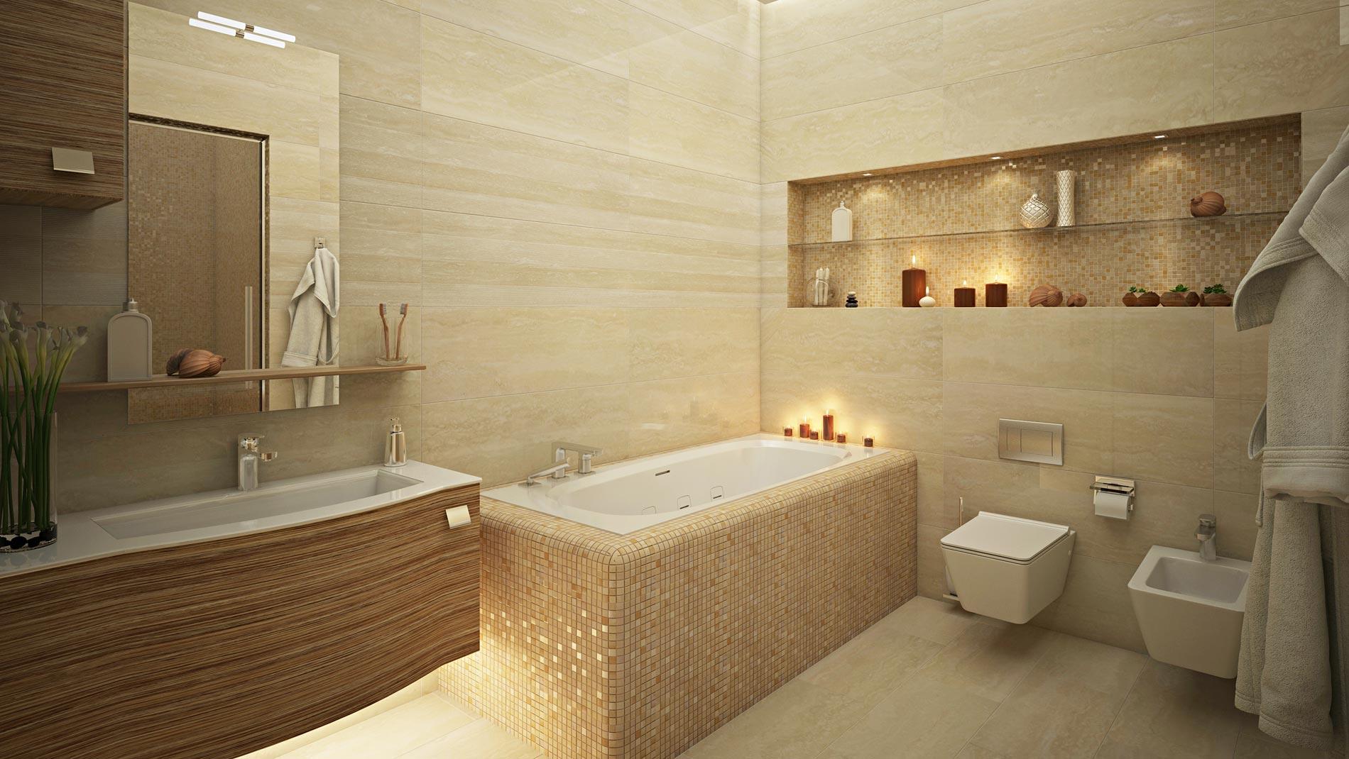 Укладка плитки в ванной и туалете