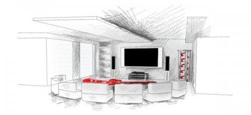 Эскиз помещения в стиле минимализм